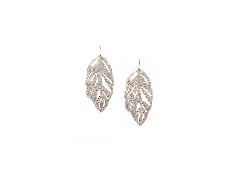 Jennifer Miller Sparkle leaf earrings mounted on yellow gold plated 125 $