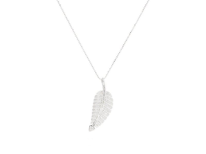 Jennifer Meyer Anniversary leak pendant necklace mounted on white gold with diamonds