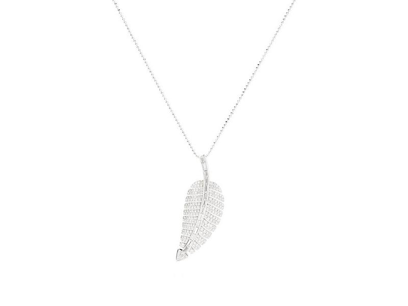 Jennifer Meyer Anniversary leak pendant necklace mounted on white gold with diamonds