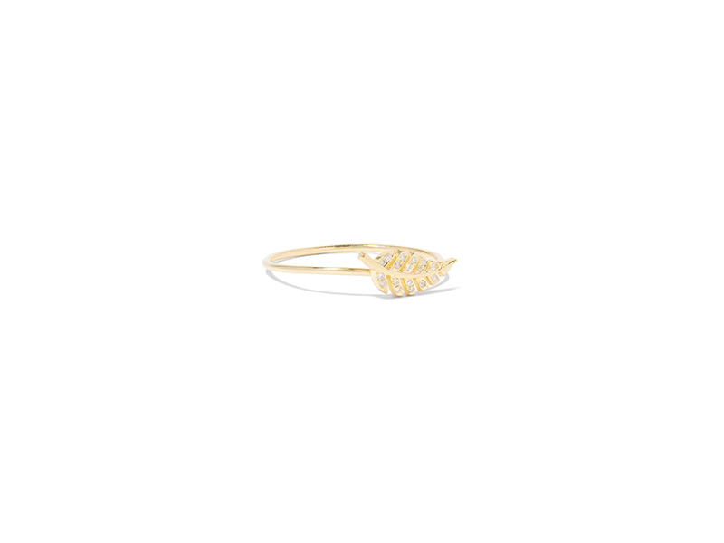 Jennifer Meyer Mini leaf ring mounted on gold with diamond - 691 €