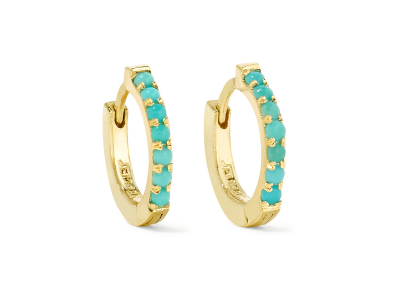 Jennifer Meyer Huggie gold turquoise hoop earrings 1'171 €