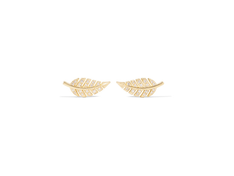 Jennifer Meyer Mini leaf earrings mounted on gold with diamonds 1'093 €