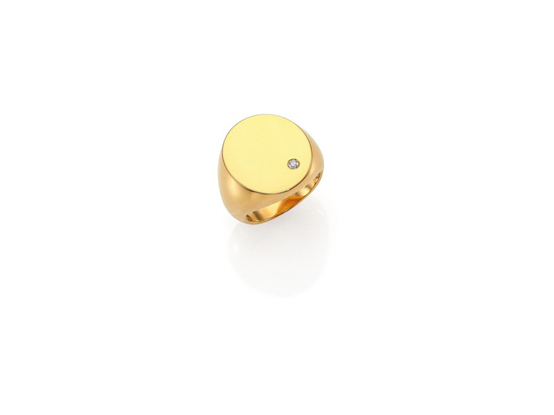 Jennifer Zeuner Elizabeth diamond signet ring in gold and vermeil with a diamond solitaire