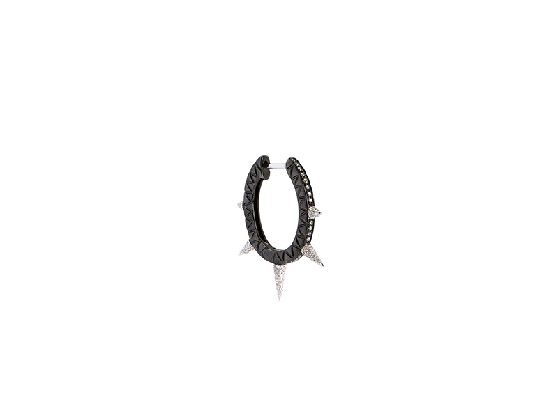 Joelle Jewellery  spike hoops mounted on black and white gold plated silver 1725 €
