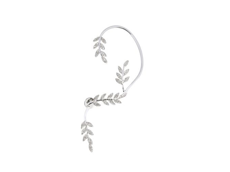 Joelle jewellery tour d'oreille feuille in white gold plated silver with white diamonds 2170€