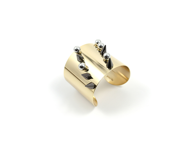 Joomi Lim Metamorphosis Medium Cuff with  spheres & spikes mounted on Gold,Ruthenium and Rhodium - 194 $