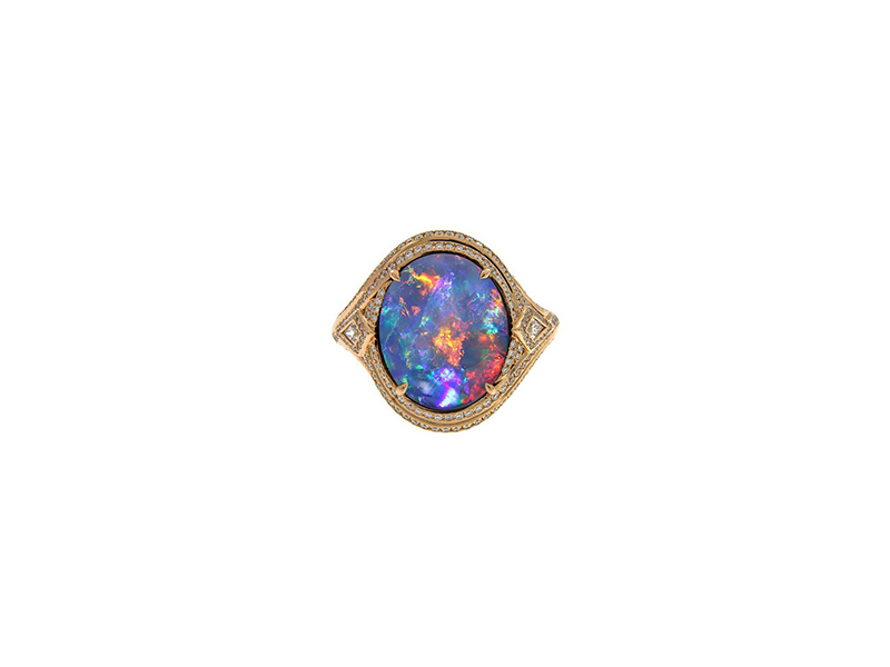 Kat Florence Light mingridge black opal ring yellow gold diamonds