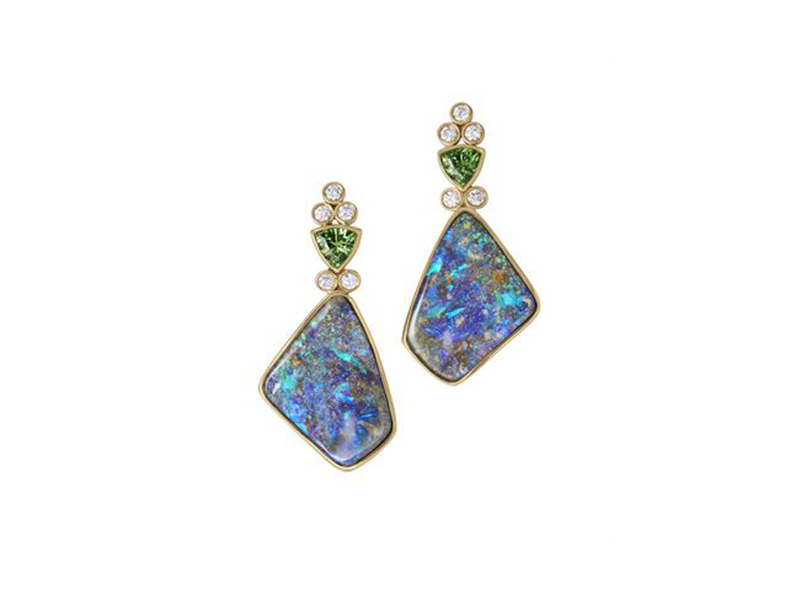 Katherine Jetter Classico pal earrings mounted on yellow gold tsavorites garnet trillion and diamond accent