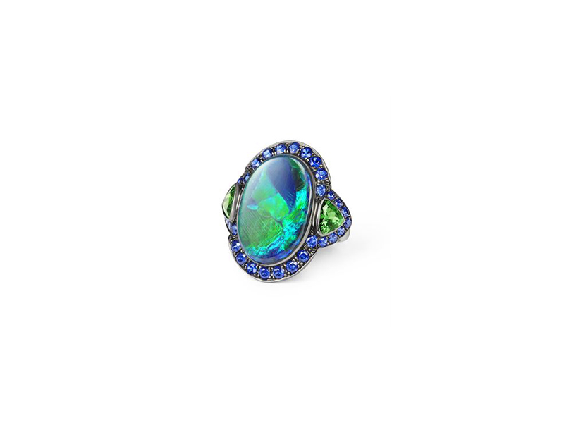 Katherine Jetter Opal and tsavorite ring white gold black opal with blue green hues tsavorite sapphires