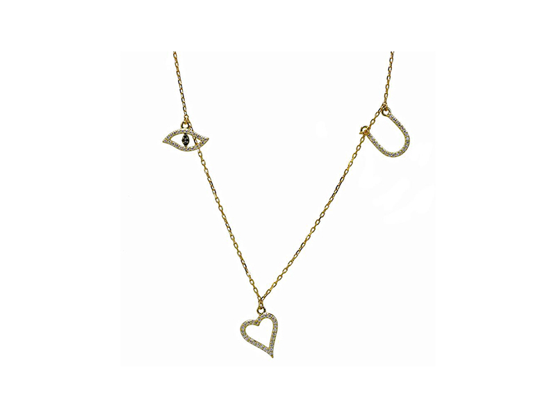 Khai Khai Jewelry Eye luv u necklace mounted on rose gold with diamonds - 2'100 $
