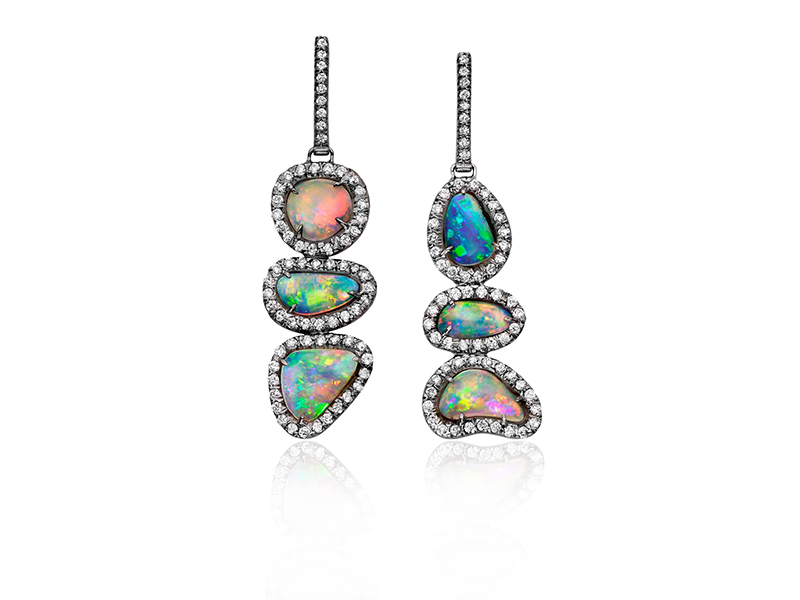Kimberly McDonald Earrings mounted on gold with opal and diamond