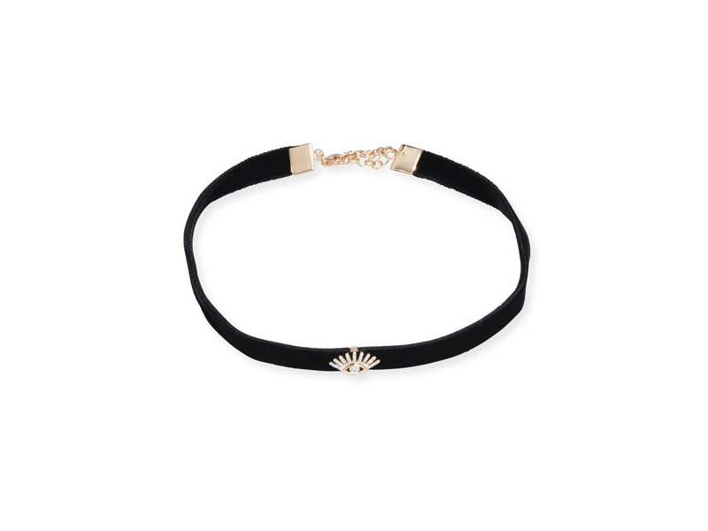 Kismet by Milka Velvet choker necklace mounted on rose gold with diamond evil eye station