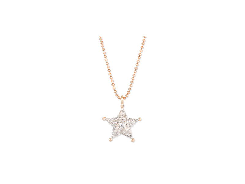 Kisnet by Milka Sheriff star pendant necklace mounted on rose gold with diamonds CHF 1'501