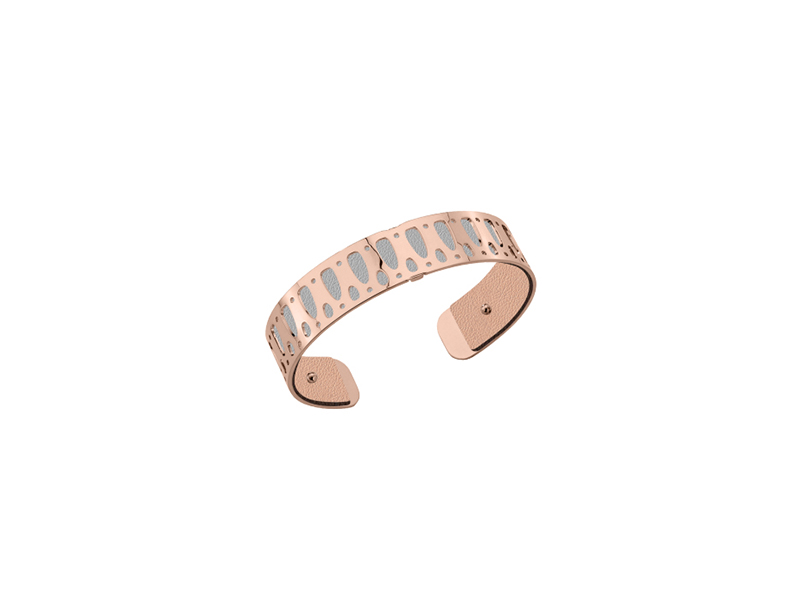 Les Georgettes Maya bracelet mounted on pink gold with light pink & light grey - 69 €
