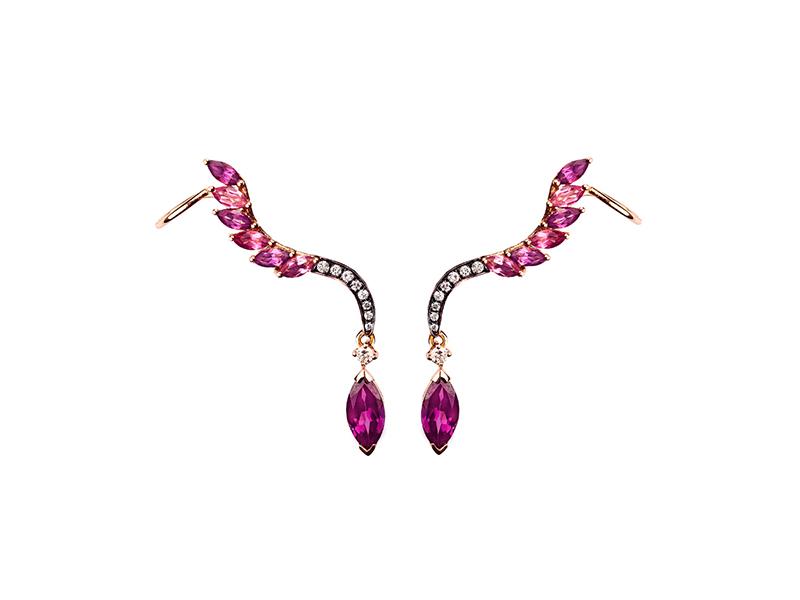Leyla Abdollahi Radiant rose gold pink tourmaline rhodolite diamond 2200 $