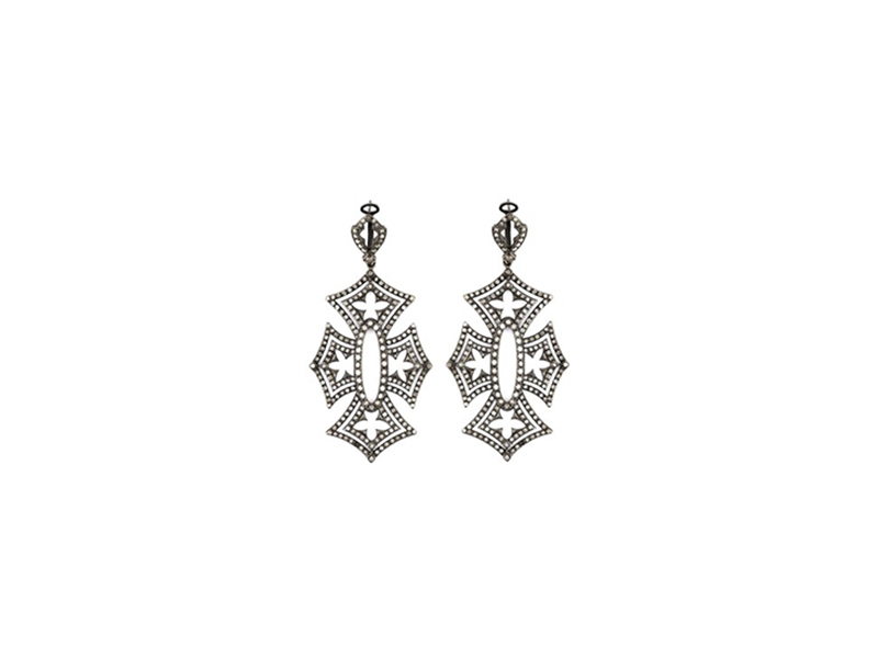 "Loree Rodkin ""Shadow cross"" diamond earrings mountees on black rhodium 20'068 £"