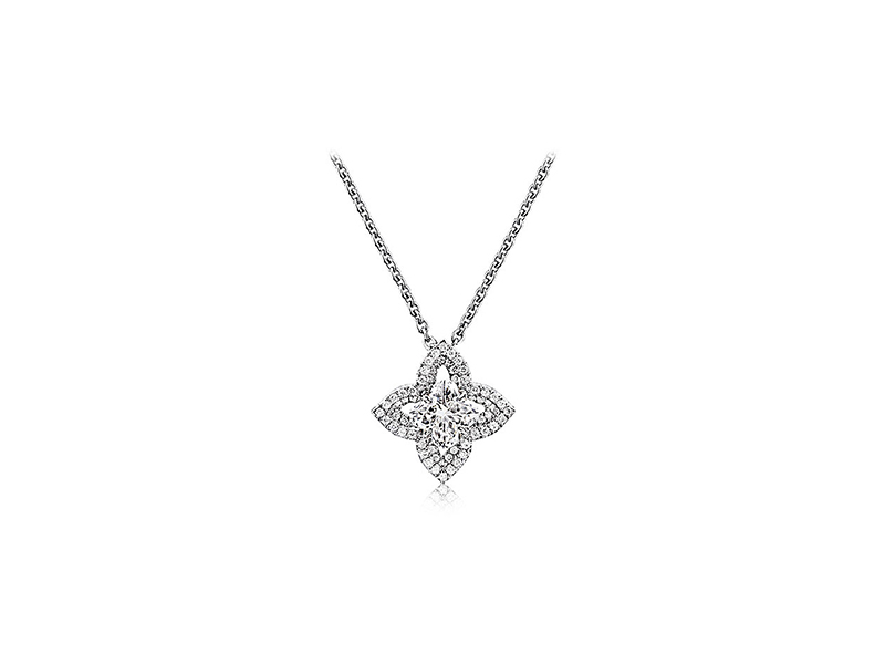 Louis Vuitton Les ardentes pointy flower pendant in white gold with lv cut diamond 6200 €