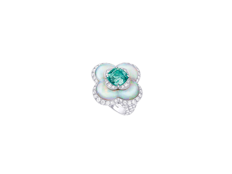 Louis Vuitton Blossom high jewelry opal and tourmaline ring white gold white diamonds
