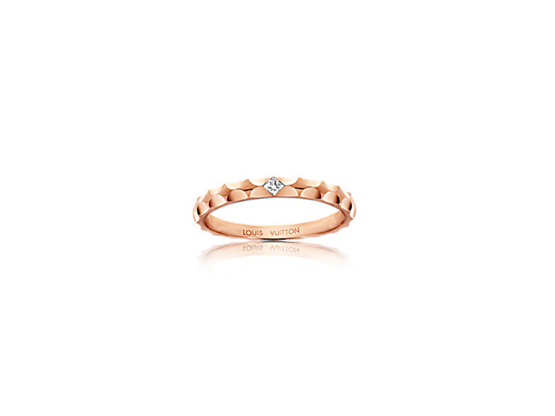 Louis Vuitton Monogram infini wedding band mounted on rose gold with a diamond