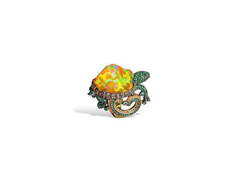 Lydia Courteille turtle fire opal ring