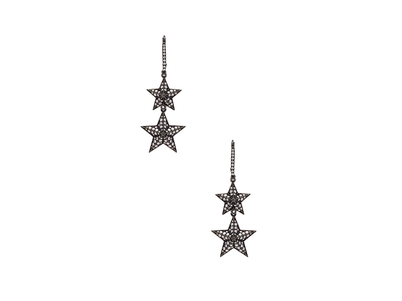 Lynn Ban Double pave star earrings mounted on black rhodium silver wit white diamonds CHF 5'685
