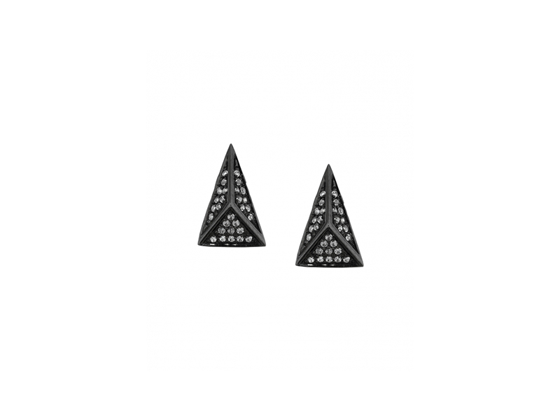 Lynn Ban Pyramid stud earrings mounted on black rhodium silver with white sapphires 750 $