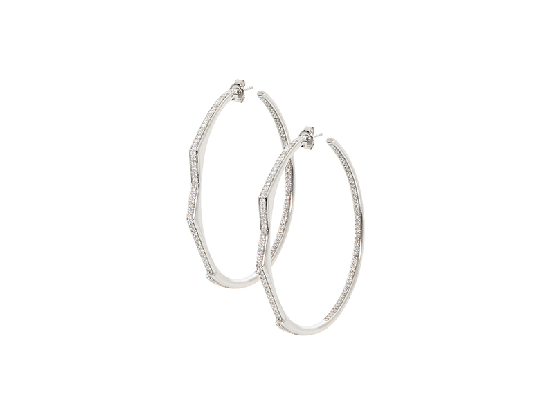 Lynn Bann Silver and white diamonds jagged thin hoops earrings 5340 €
