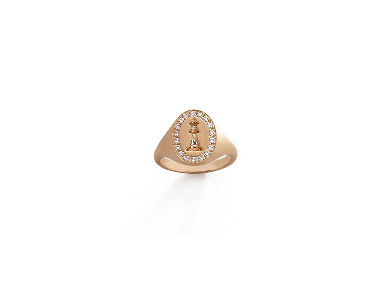 Michelle Fantaci Checkmate pinky ring gold with diamonds