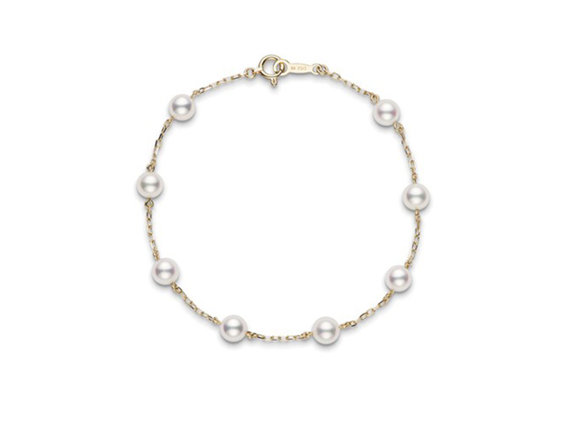 Mikimoto bracelet pearl chain mounted on yellow gold with Akoya pearl