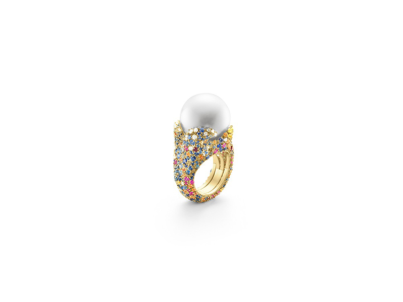 Mikimoto Four seasons summer ring with an akoya cultured pearl