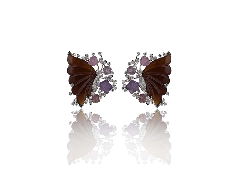 Mirari Butterfly pavillion earrings in marsala wine hues