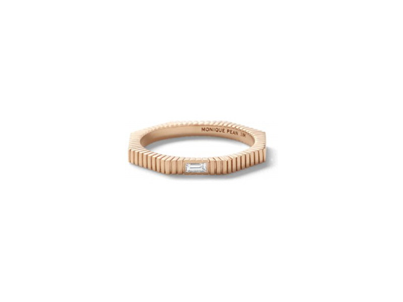 Monique Pean Octagonal band with white diamond baguette 18k recycled rose gold 1170 $