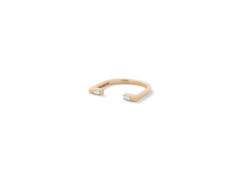 Monique Pean White diamond baguette open ring 18k recycled rose gold 1805 $
