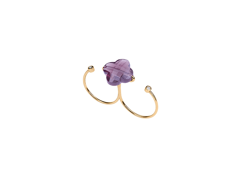 Morgane Bello Double ring yellow gold amethyst diamonds