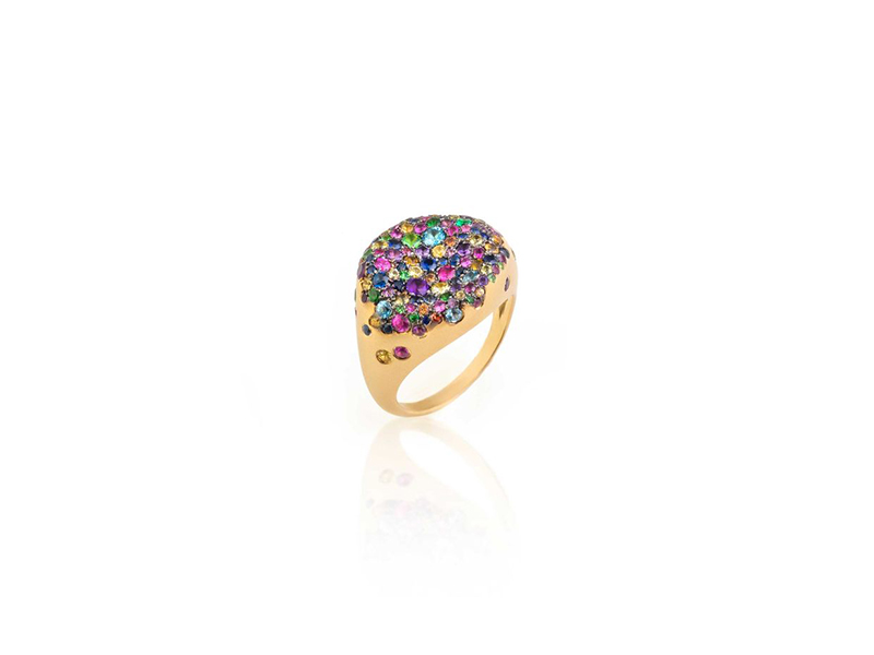 Nada G pinky ring baby malak collection sprinkled with multi-coloured sapphires