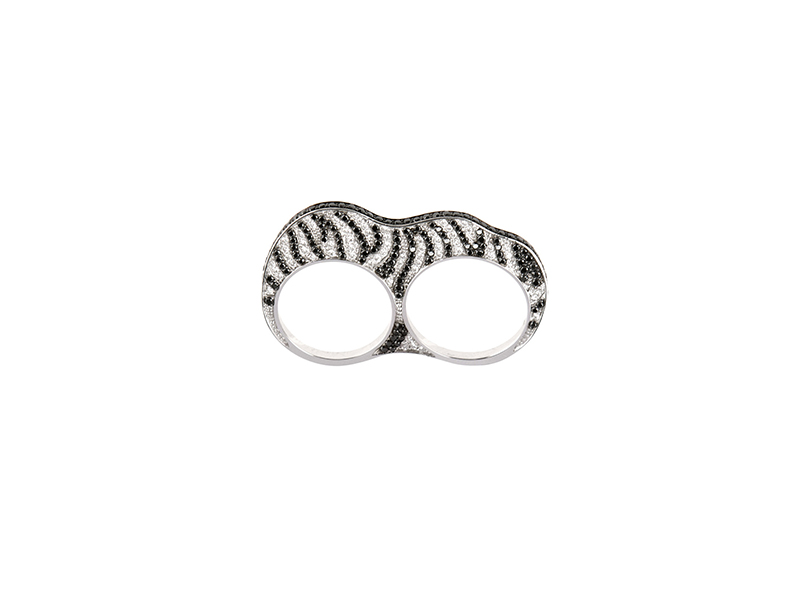 Nessa White Gold and Black and Grey Diamonds Double Ko Zebra Ring 4785 €