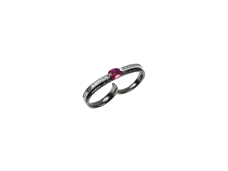 Nikos Koulis From Classic Moments collection black gold ring with black diamonds and ruby