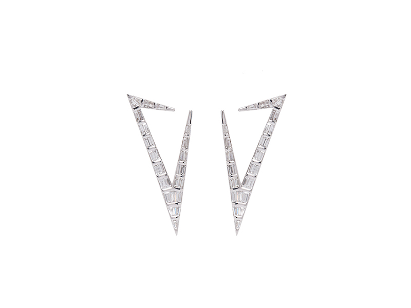 Nikos Koulis Earrings from classic moments mounted on white gold with diamond baguettes