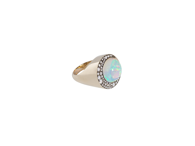 Noor Fares Tilsam collection opale clipse ring mounted on grey gold with an opals phere and white diamonds
