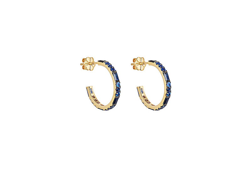 Pamela Love Sapphire hoops mounted on yellow gold - 3'000 $