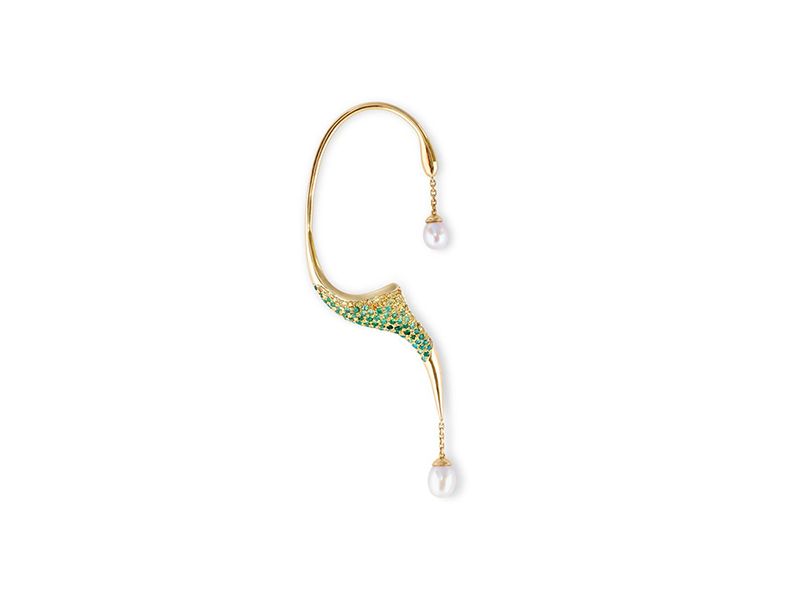Phioro Jewellery Aqua ray ear cuff with green peridot and yellow sapphires