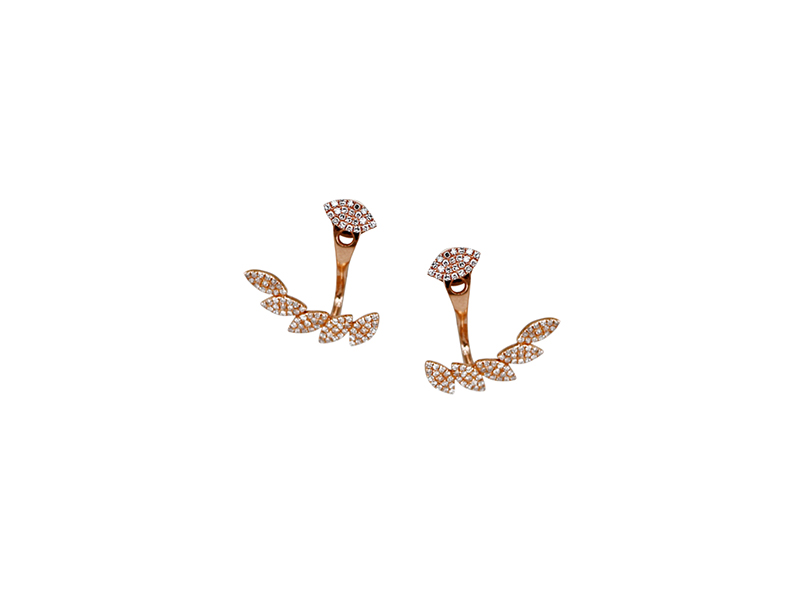 Plukka Petal moon diamond ear jackets mounted on rose gold - 1'000 $