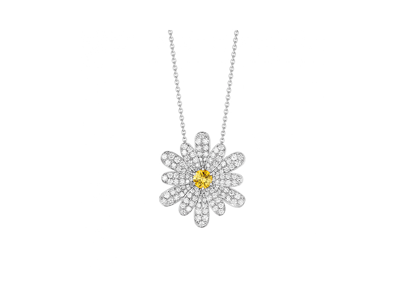 Poiray Flower poiray necklace mounted on white gold with yellow sapphire and diamonds