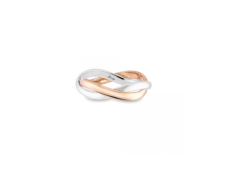 Poiray Tresse ring mounted on white and rose gold