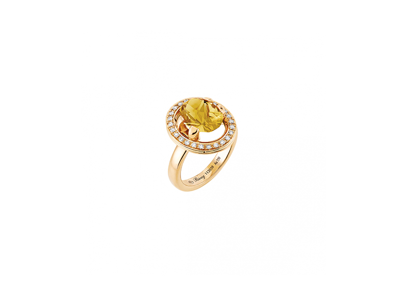 Poiray Ma preference collection ring yellow gold diamonds citrine