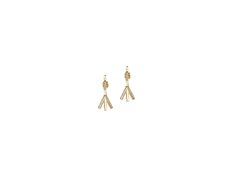 Rachel Boston Algiz earrings set mounted on yellow gold with diamonds - 1800 £