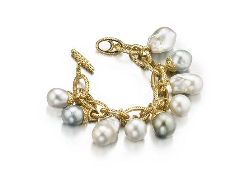 Ray Griffiths Link bracelet gold crownwork link bracelet with pearl bales
