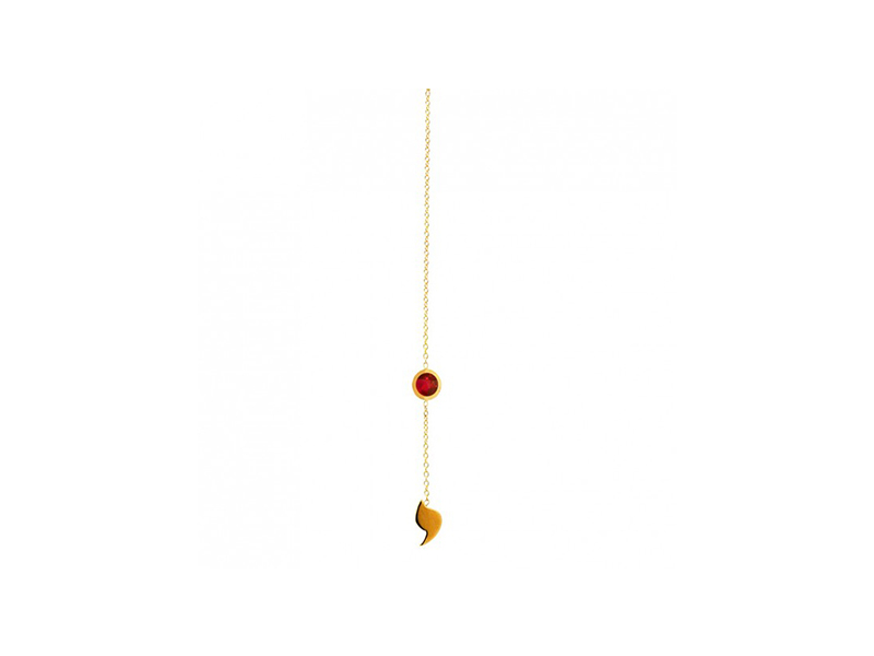 Rivka Nahmias Chain earring Sunset mounted on yellow gold with red spinel