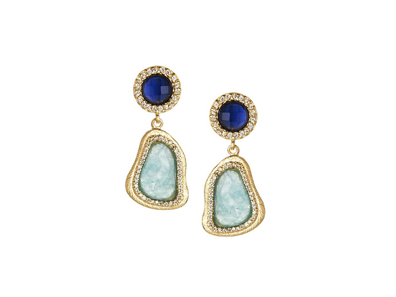 Rivka Iolite and caribbean blue quartzite dangle earrings mounted on gold - 330 $