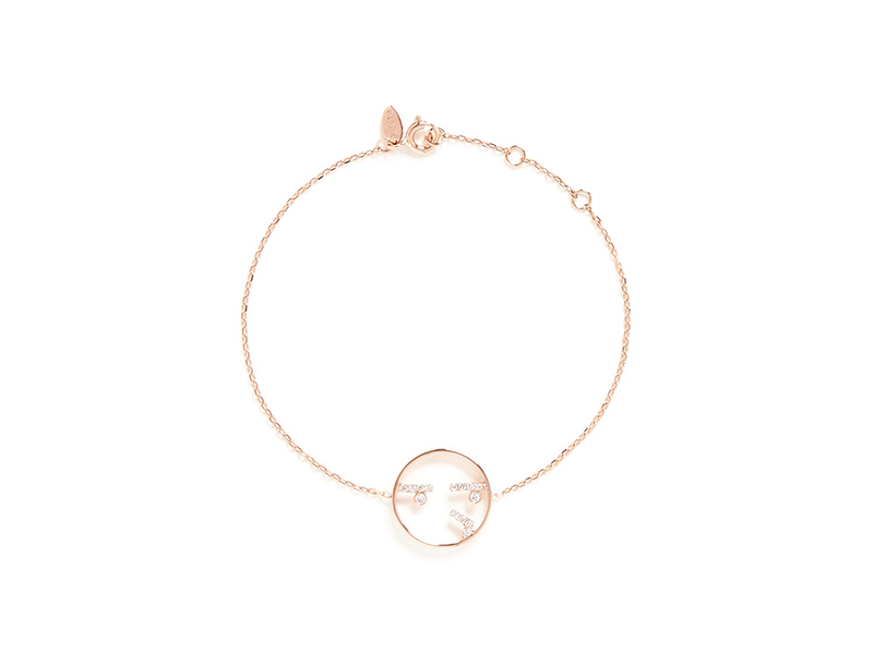 Ruifier Curious diamond 9 k rose gold charm bracelet 14 paved white diamonds at eyes and mouth - 945 $